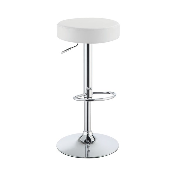 Coaster Furniture White Leatherette Cushion Round Bar Stool CST-102550