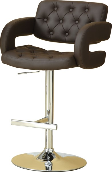 Contemporary Chrome Brown Metal Adjustable Height Bar Stool CST-102556