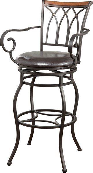 Transitional Black Metal Faux Leather Bar Stool CST-102575