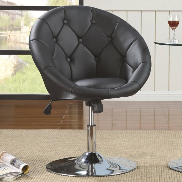 Contemporary Black Leather Like Vinyl Swivel Chair CST-102580