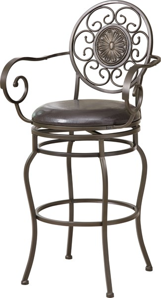 Transitional Antique Gold Metal Faux Leather Bar Stool CST-102584