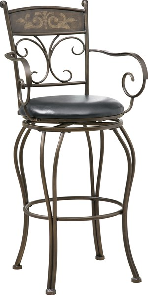 Casual Black Bronze Metal Faux Leather Bar Stool CST-102585