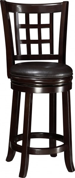 Casual Espresso Wood Leather Like Vinyl 24 Inch Bar Stool CST-102649