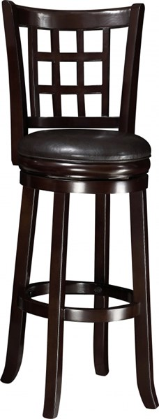 Casual Espresso Wood Leather Like Vinyl 29 Inch Bar Stool CST-102650