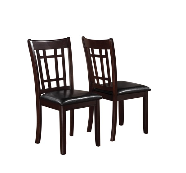 2 Lavon Transitional Espresso Wood Leatherette Side Chairs CST-102672