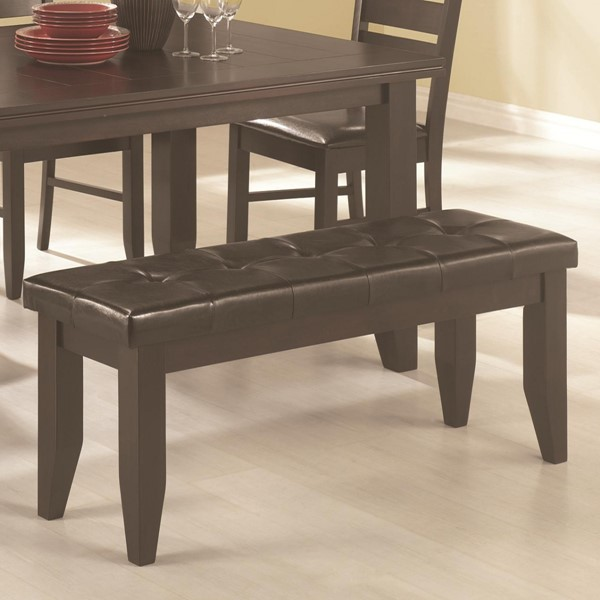 Transitional Cappuccino Dark Brown Wood Leather Like Vinyl Bench CST-102723