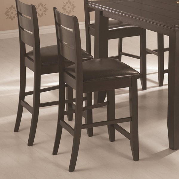 2 Transitional Cappuccino Wood Leather Like Vinyl Bar Stools CST-102729