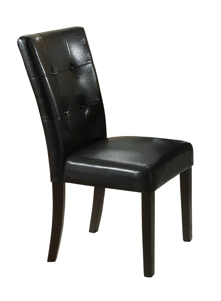 2 Anisa Casual Cappuccino Black Wood Leather Like Vinyl Side Chairs CST-102772