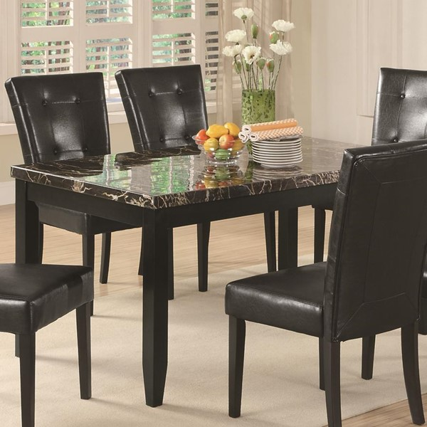 Anisa Casual Black Wood Faux Marble Dining Table CST-102791