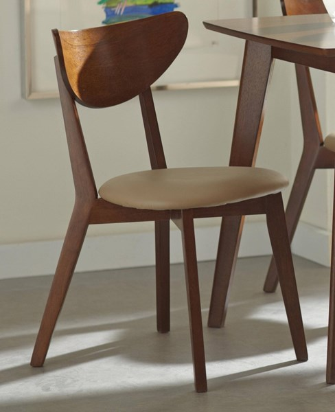 2 Kersey Contemporary Chestnut Wood Cushions Side Chairs CST-103062