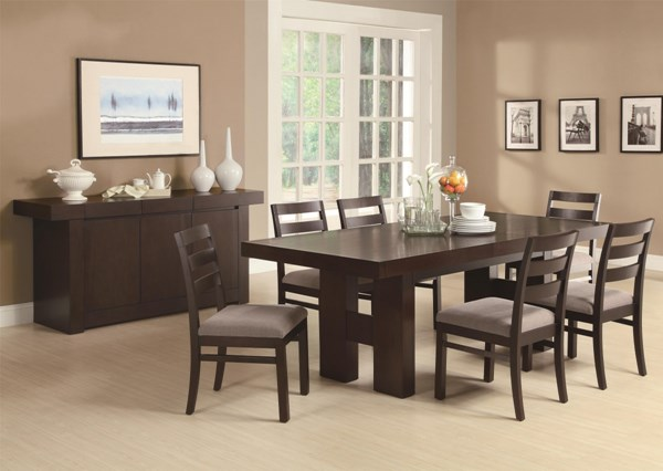 Dabny Contemporary Cappuccino 8pc Dining Room Set CST-103101SET