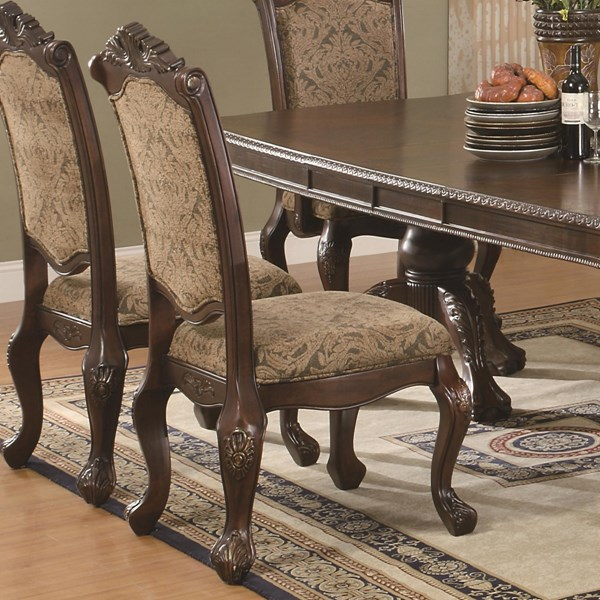 2 Andrea Traditional Warm Brown Wood Fabric Side Chairs CST-103112
