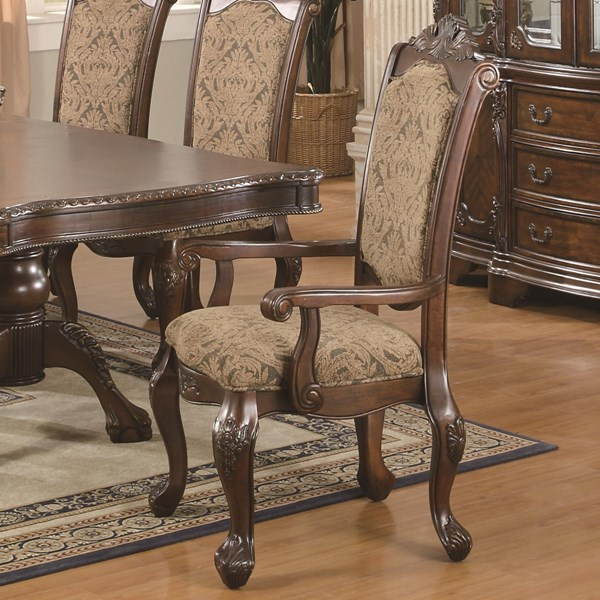 2 Andrea Traditional Warm Brown Wood Fabric Arm Chairs CST-103113