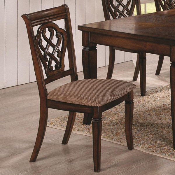 2 Hayden Oak Wood Fabric Grid Back Dining Chairs CST-103392