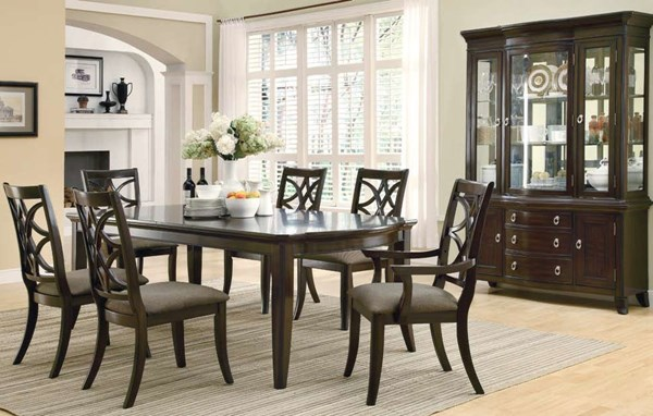 Meredith Casual Espresso Wood Fabric 7pc Dining Room Set CST-103531-S