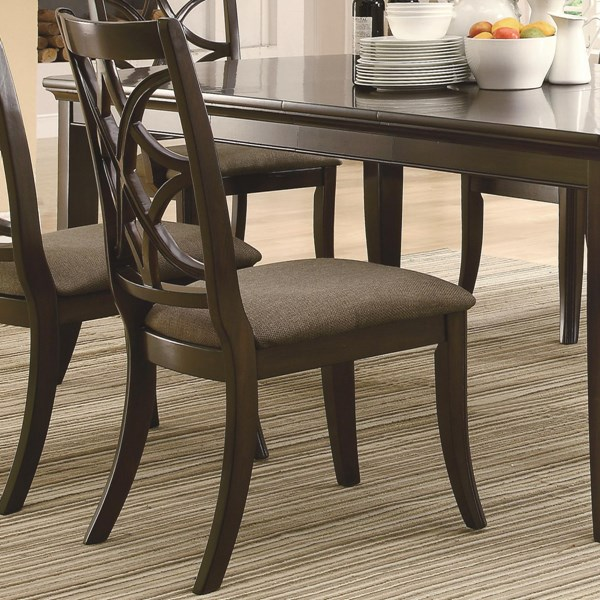 2 Meredith Casual Espresso Wood Fabric Side Chairs CST-103532