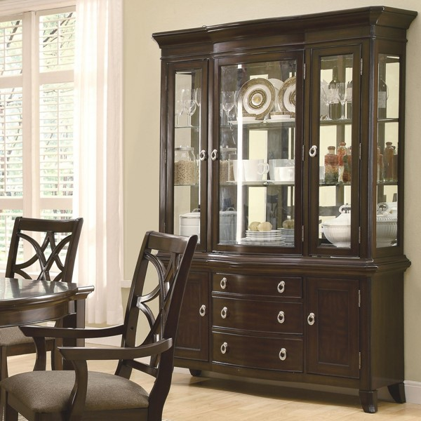 Meredith Casual Espresso Wood Glass Buffet/Hutch CST-103534