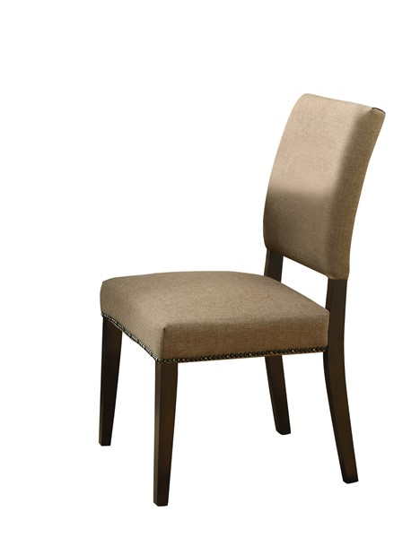 2 Myrtle Espresso Wood Fabric Solid Back Side Chairs CST-103572