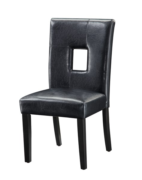 2 Contemporary Black Wood Keyhole Back Dining Chairs CST-103612BLK