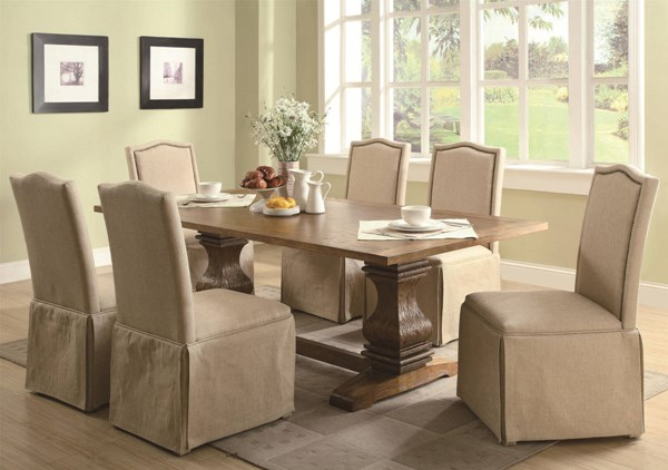 Parkins Ivory Fabric Hardwood Parson Skirt Chairs 7pc Dining Room Set CST-103711-S1