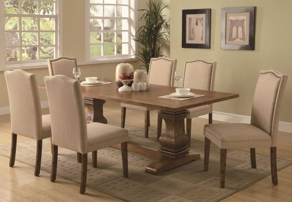 Parkins Ivory Fabric Hardwood Parson Chairs 7pc Dining Room Set CST-103711-S
