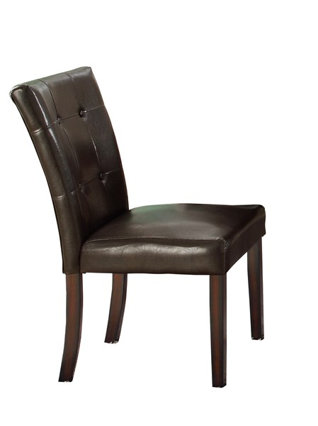 2 Milton Dark Brown Wood Faux Leather Parson Chairs CST-103772