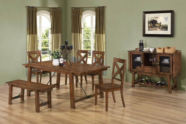 Lawson Casual Oak Wood Solid Top 6pc Dining Room Set CST-G103991-S