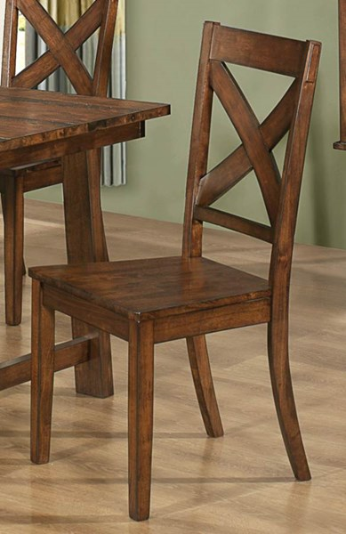 2 Lawson Casual Rustic Pecan Wood Side Chairs CST-103992