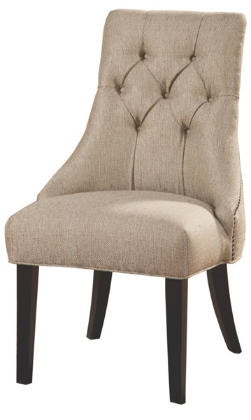 Transitional Beige Wood Fabric Side Chair CST-104033
