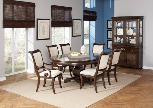 Harris Transitional Cappuccino Wood Fabric Glass Dining Room Set CST-104111-DR