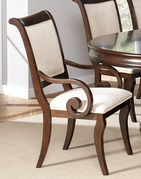 2 Harris Transitional Dark Cherry Beige Wood Fabric Arm Chairs CST-104113