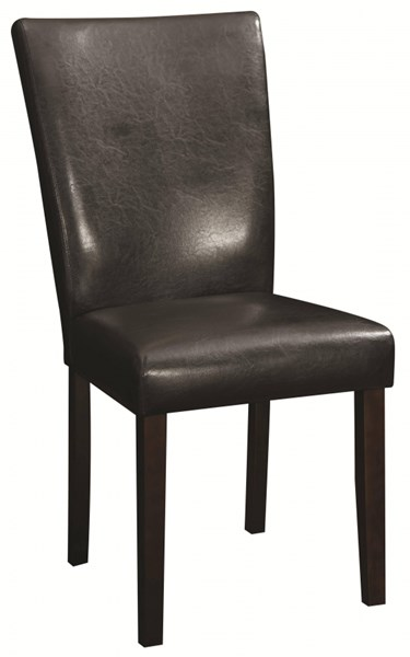 2 Westbrook Vintage Brown Black Wood Faux Leather Side Chairs CST-104225