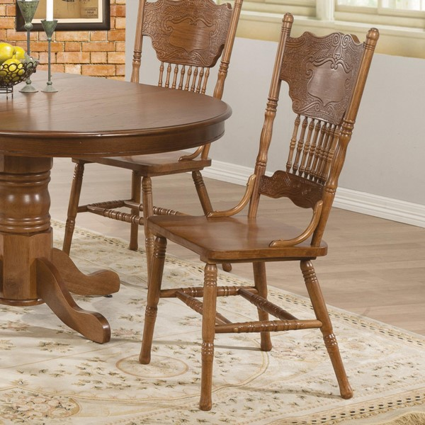 2 Brooks Traditional Oak Wood Side Chairs CST-104262