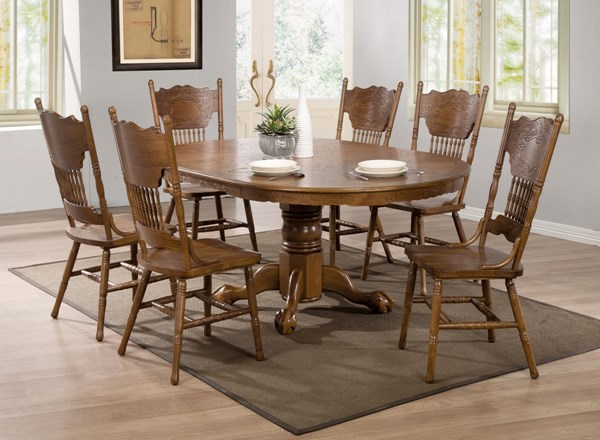 Brooks Traditional Oak Wood Fabric Dining Room Set CST-104270DS