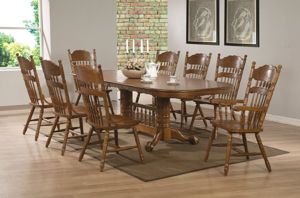 Brooks Traditional Oak Wood Veneers Solids Dining Room Set CST-104271DS