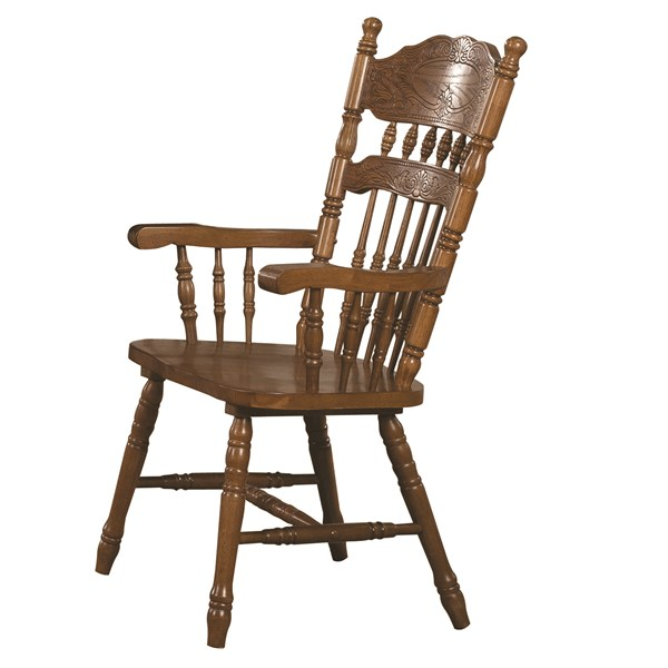 2 Brooks Traditional Oak Wood Solid Seat Side Chairs CST-104272