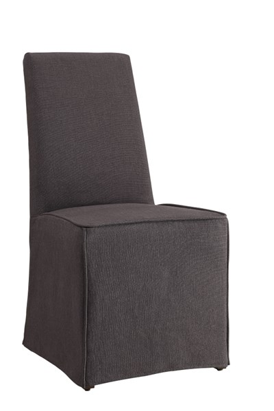 2 Galloway Grey Wood Fabric Slip Covered Parson Dining Chairs CST-104277