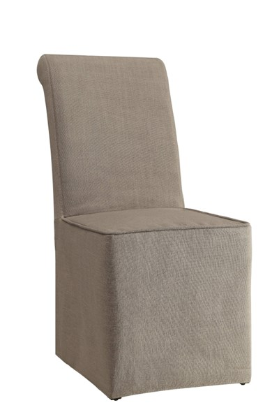 2 Galloway Beige Wood Fabric Slip Covered Parson Dining Chairs CST-104278