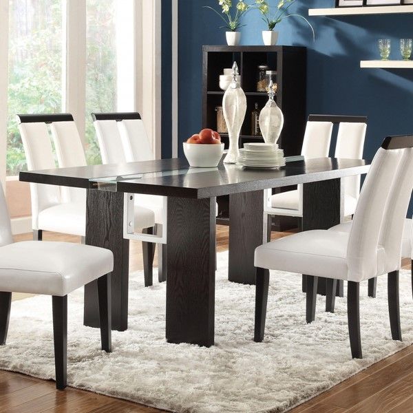 Kenneth Black Wood Veneers/Solids Rectangular Dining Table w/Led Light CST-104561