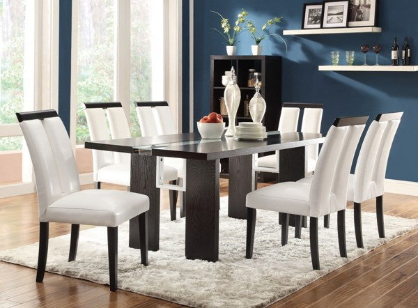 Kenneth Contemporary Black Wood Veneers & Solids Dining Table Set CST-104561DS