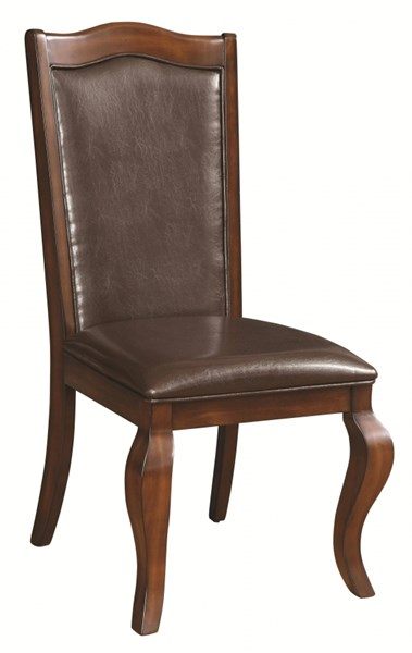 2 Louanna Transitional Espresso Wood Leatherette Side Chairs CST-104842
