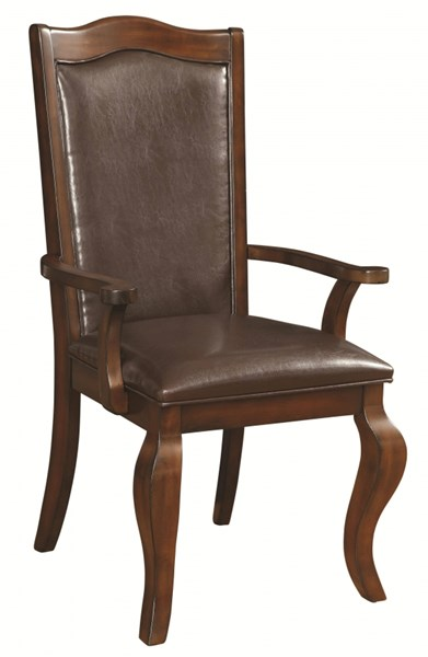 2 Louanna Transitional Espresso Wood Leatherette Arm Chairs CST-104843