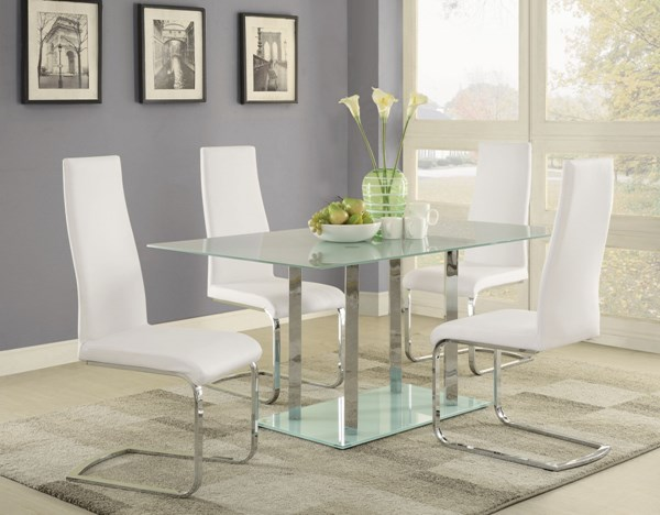 Geneva White Glass Faux Leather 5pc Dining Room Set CST-10486-DR-S2