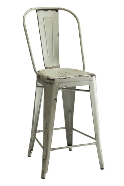 2 Lahner Blue Antique Bronze & Galvanized Metal Counter Height Chairs CST-104884
