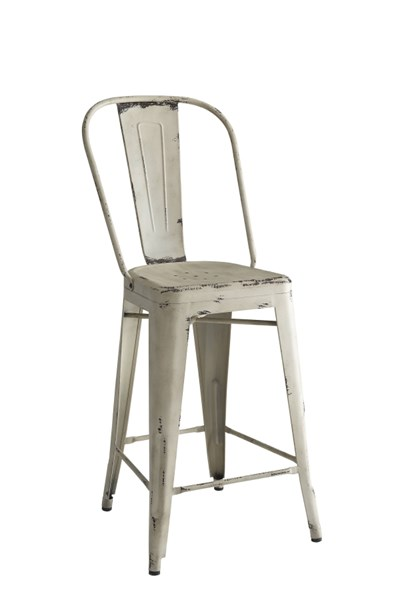 2 Lahner White Antique Bronze & Galvanized Metal Counter Height Chairs CST-104885