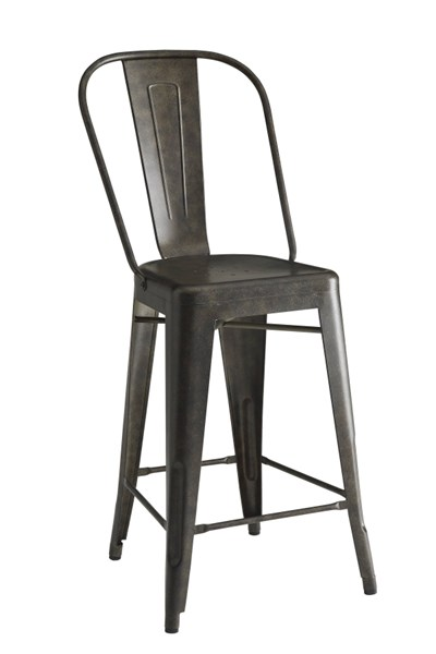 2 Lahner Brown Antique Bronze & Galvanized Metal Counter Height Chairs CST-104886