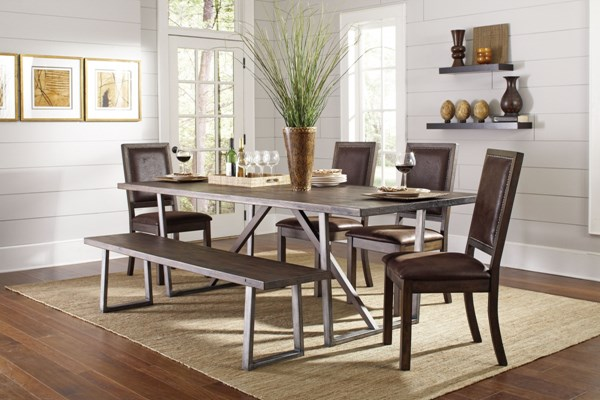 Genoa Rustic Wire Brushed Cocoa Wood Faux Leather 6pc Dining Room Set CST-10491-DR-S1