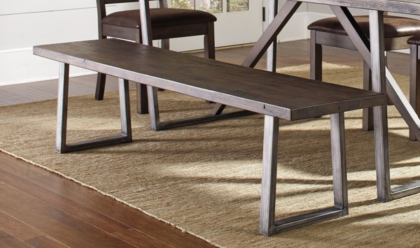 Genoa Rustic Wire Brushed Cocoa Wood Metal Bench CST-104913
