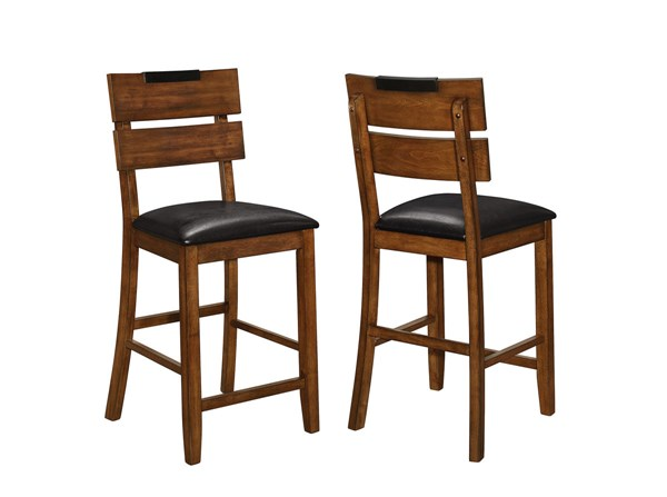 2 Avalon Dark Amber Wood Leatherette Counter Height Chairs CST-105019