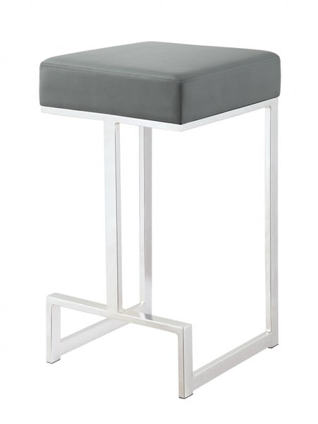 Grey Leatherette Chrome Base Metal Counter Height Stool CST-105252